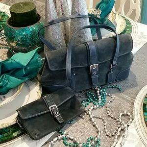 SALE🔥Coach vintage blue suede bag and wallet🎈